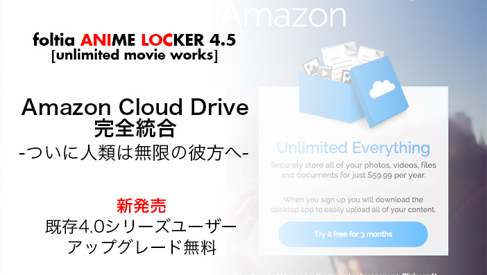 foltia ANIME LOCKER 4.5 [unlimited movie works] Amazon Cloud Drive完全統合 好評発売中